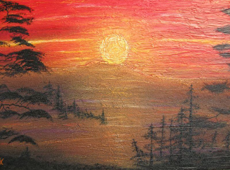 Sonnenuntertag im Wald